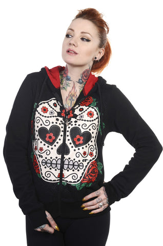 Banned Clothing - Sugar Skull Red Roses Hoodie