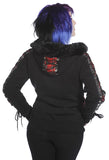 Banned Clothing - Red Tartan Corset Black Hoodie - Egg n Chips London