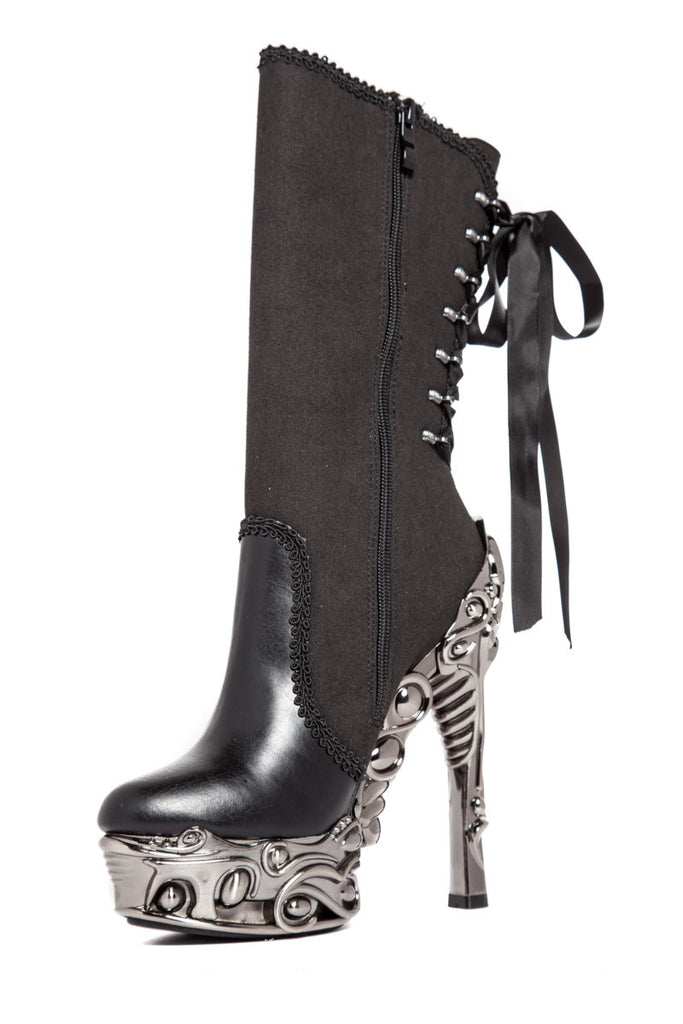 Hades Shoes - Analia Steampunk Ribbon Tied Boots - Egg n Chips London