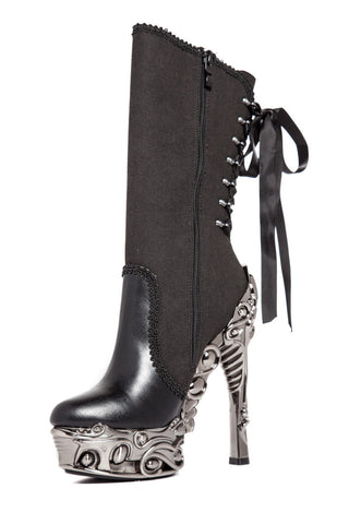 Hades Shoes - Analia Steampunk Ribbon Tied Boots