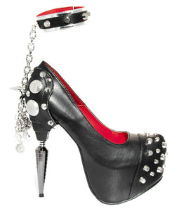 Hades Shoes - Bond Platform Pump with Detachable Studded Ankle Strap - Egg n Chips London