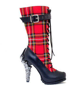 Hades Shoes - Corinne Plaid Knee High Boots - Egg n Chips London