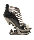 Hades Shoes - Discor Iceberg Wedge with Silver and Black Straps - Egg n Chips London