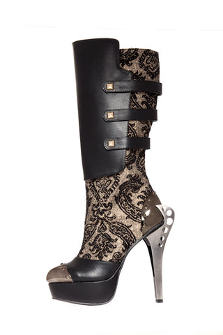 Hades Shoes - Frances Boots with Gold Pyramid Buckles