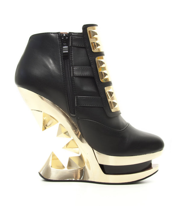 Hades Shoes - Gleam Ankle Boot with Golden Iceberg Wedge - Egg n Chips London