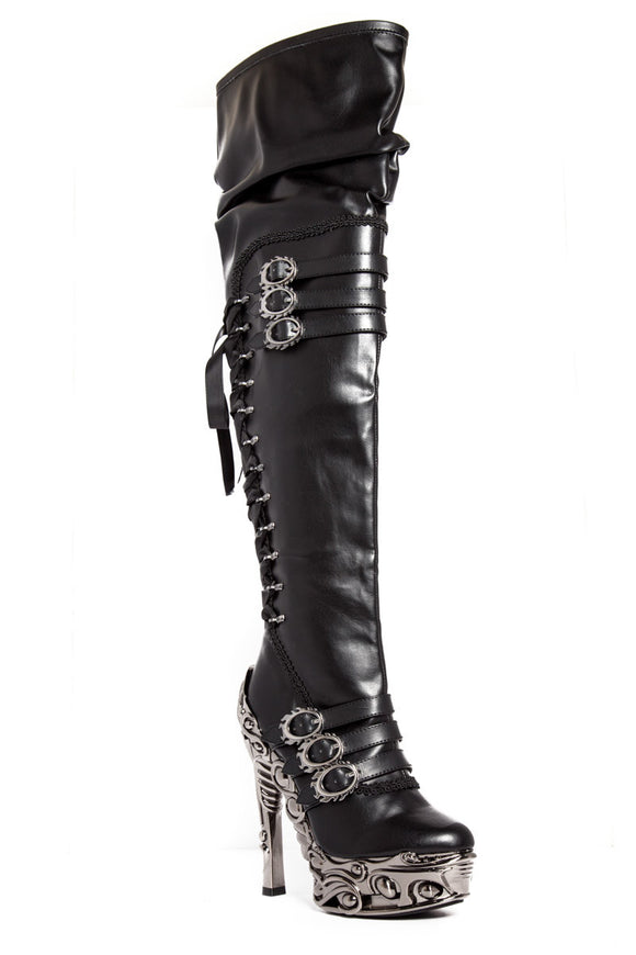 Hades Shoes - Lokie Knee High Boots - Egg n Chips London