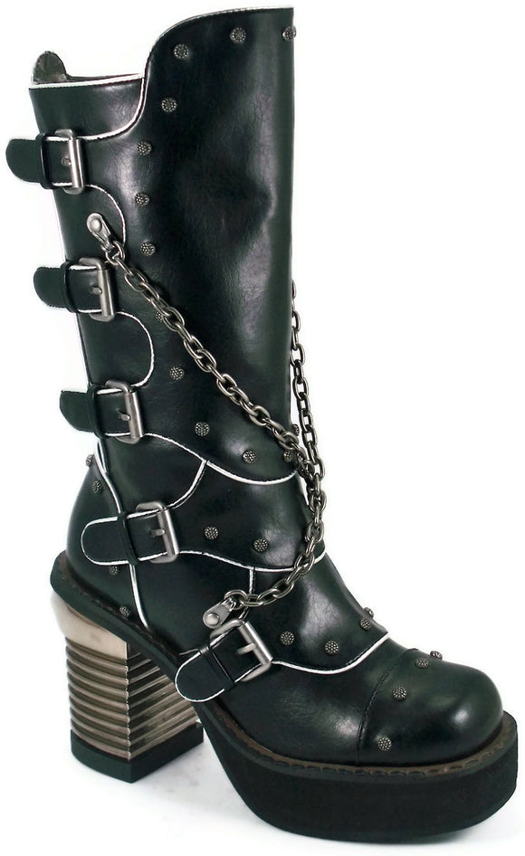 Hades Shoes - Motorhead with Metal Chains and Screw Topped Rivets Boots - Egg n Chips London