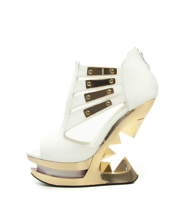 Hades Shoes - Nebula Peep Toe Golden Iceberg Wedge - Egg n Chips London