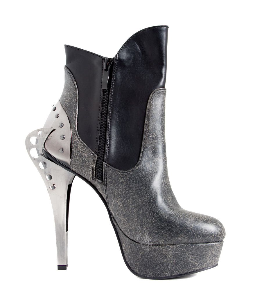 Hades Shoes - Nocturne Cyber Vintage Inspired Two Tone Layered Ankle Bootie
