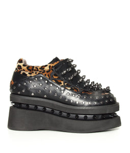 Hades Shoes - Opion Cheetah Platform Flats with Studded Sides - Egg n Chips London