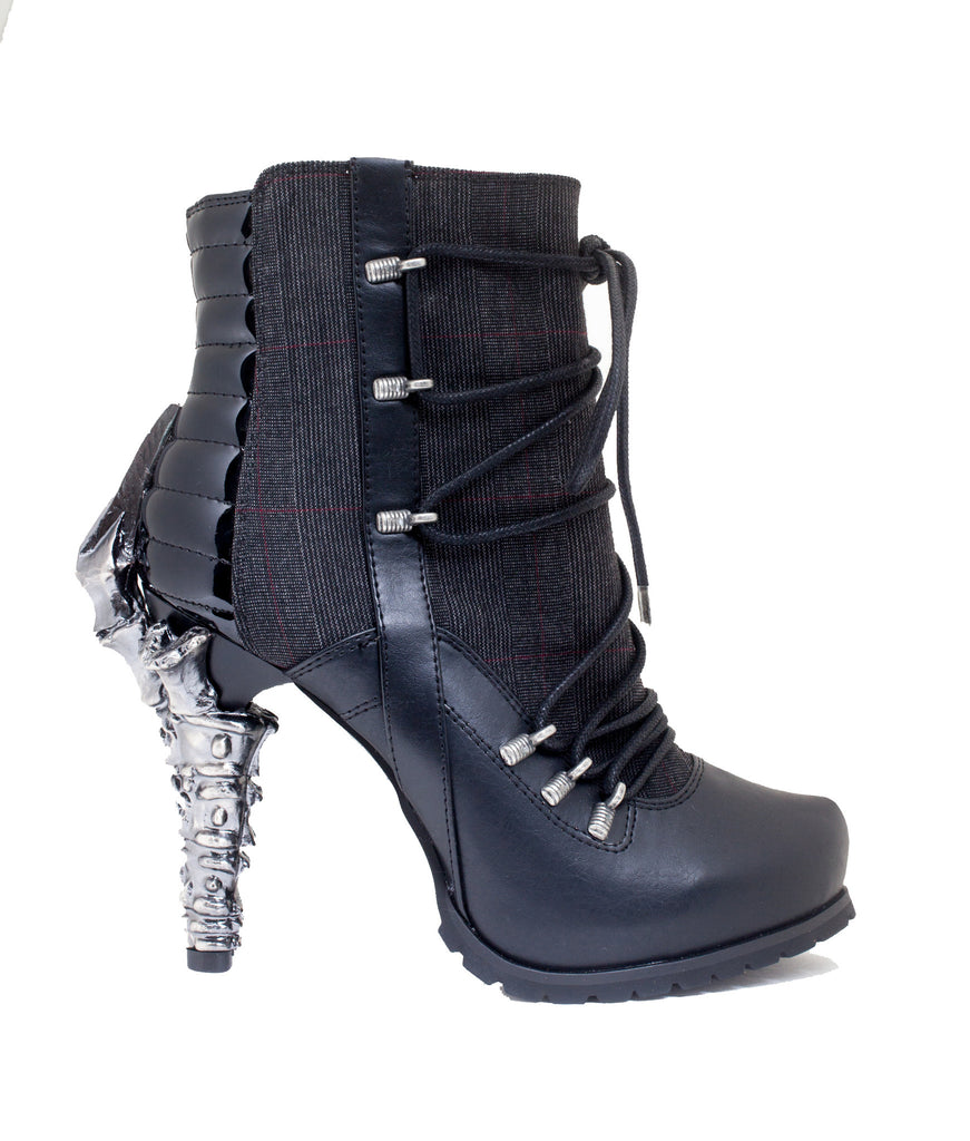 Hades Shoes - Shade Biker Inspired Ankle Boots w/ Adjustable Front Laces