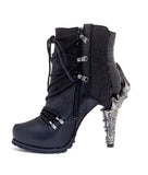 Hades Shoes - Shade Biker Inspired Ankle Boots w/ Adjustable Front Laces - Egg n Chips London