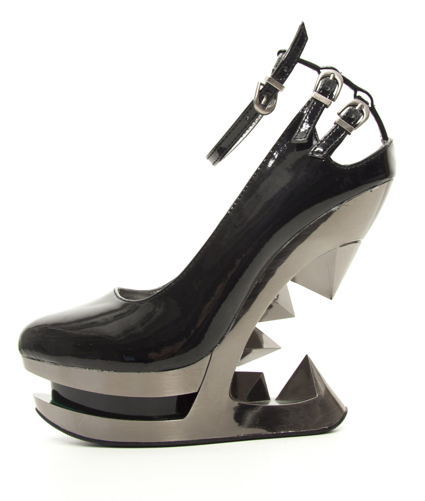 Hades Shoes - Sheen Patent Leather Iceberg Wedge Pump