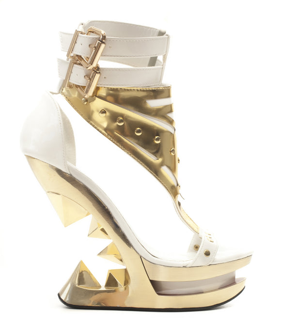 Hades Shoes - Solara Open Toe Gold Wedge Platform Iceberg Heel - Egg n Chips London