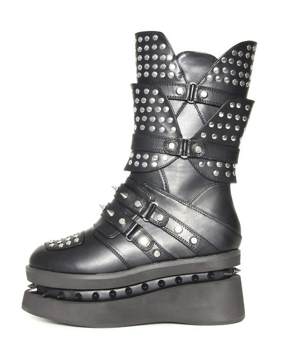 Hades Shoes - Spektor Multi Studded Unisex Flats with Spikes Embedded in Platform - Egg n Chips London
