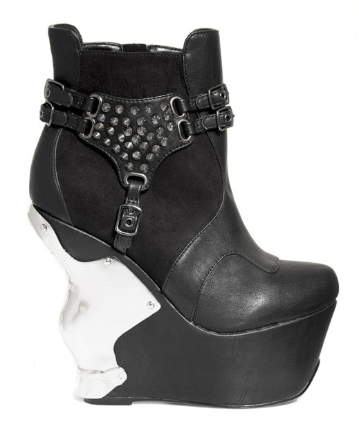 Hades Shoes - Stallion Wedge w/ Iron Cross Chrome Back Piece - Egg n Chips London