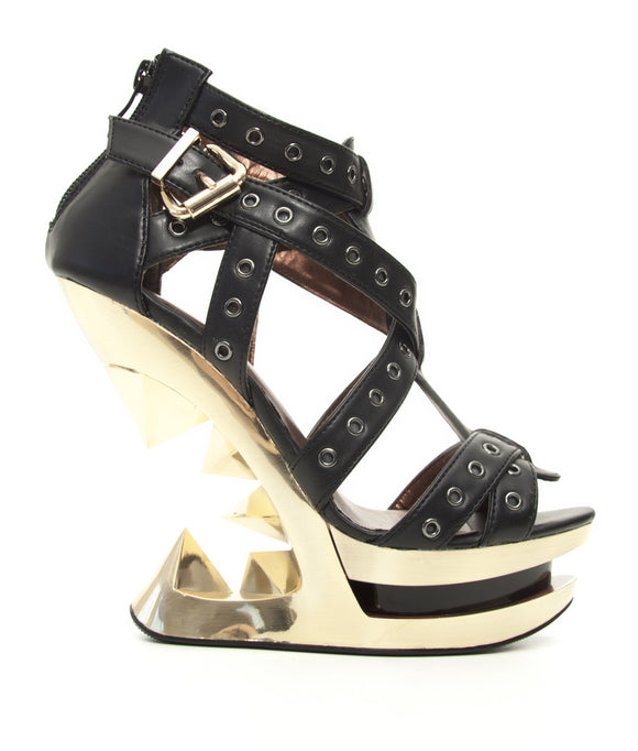 Hades Shoes - Taunt Gold Wedge Heel Accented with Metal Eyelets