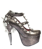 Hades Shoes - Trinity Rhino Heel Collection w/ Spikes on Side - Egg n Chips London