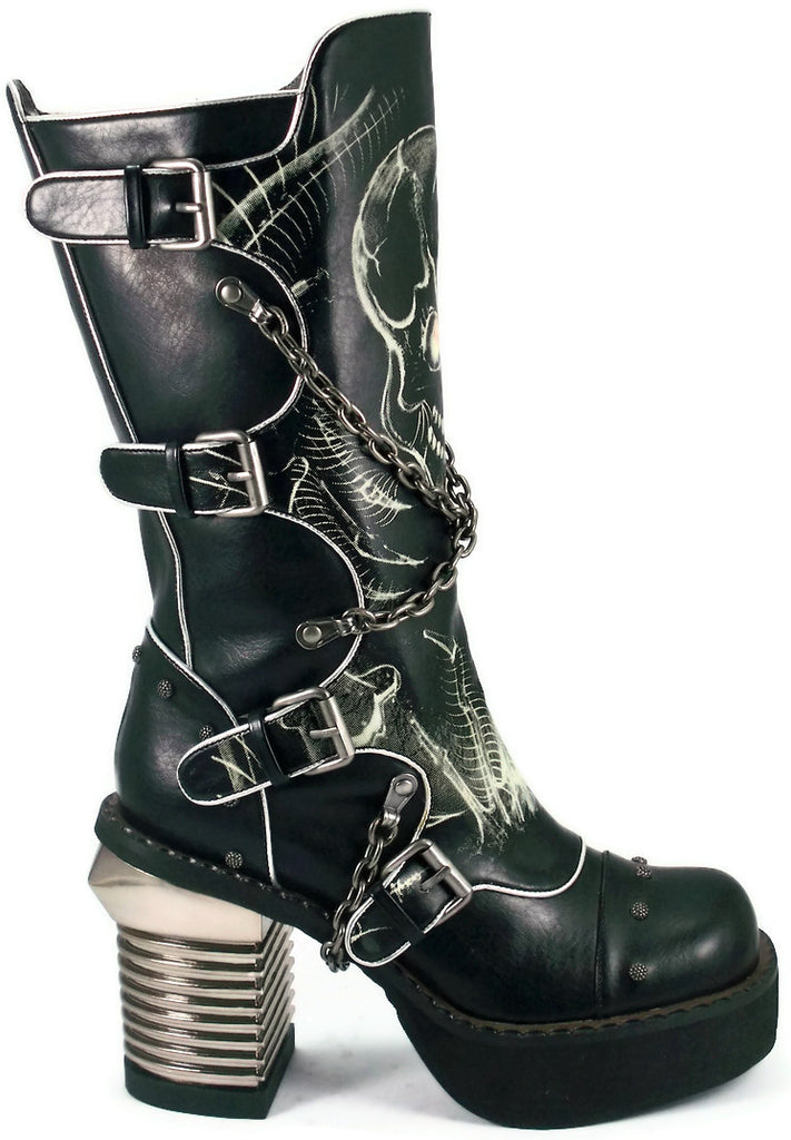 Hades Shoes - Spawn Knee High Punk Boots w/ Crisscrossed Biker Chains