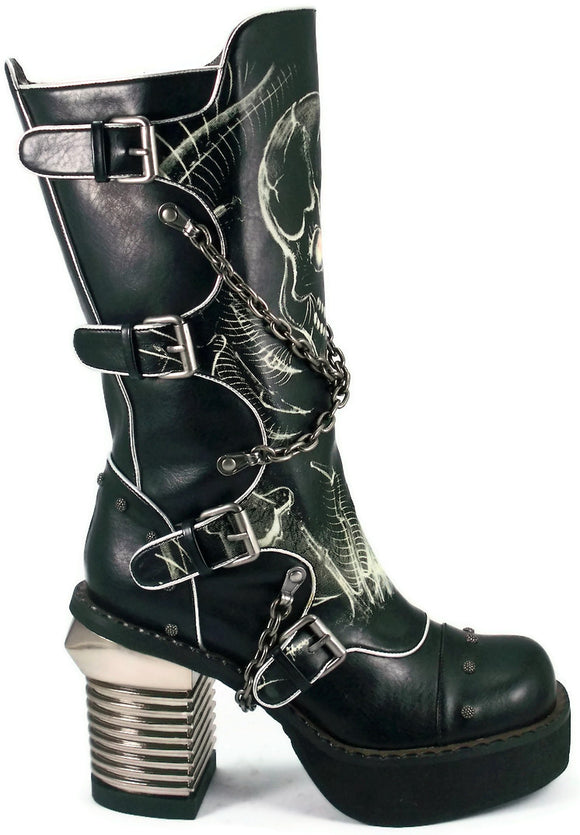Hades Shoes - Spawn Knee High Punk Boots w/ Crisscrossed Biker Chains - Egg n Chips London