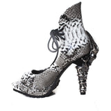 Hades Shoes - Vamp Synthetic Snake Skin with Prehistoric Claw Heel - Egg n Chips London