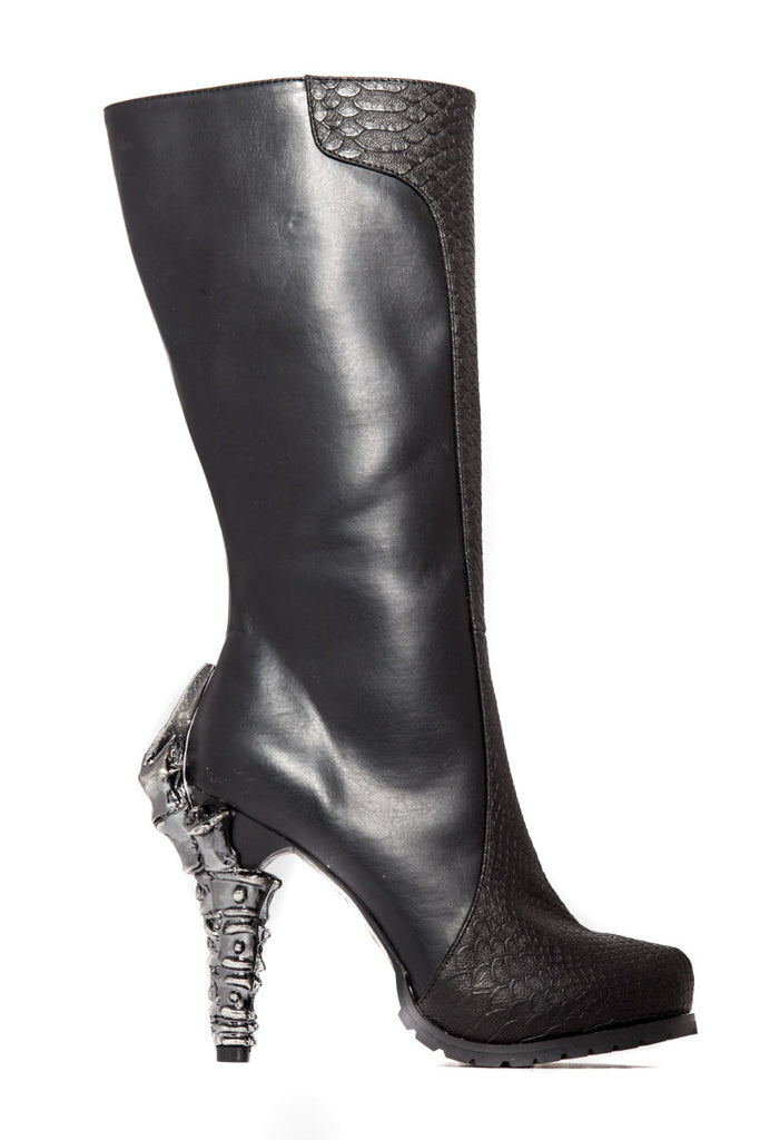 Hades Shoes - Willow Knee high biker inspired boots w/ snake like layer in front