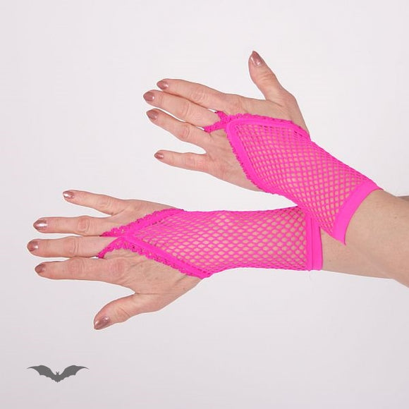 Queen of Darkness - Hot pink net gloves. Loop for finger. Sh