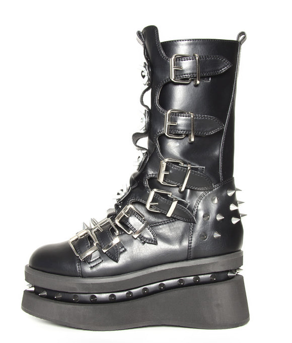 Hades Shoes - Stetchen Platform Boot with Seven Buckle Straps - Egg n Chips London