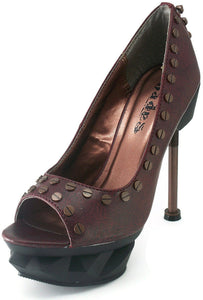 Hades Shoes - Iron Punk Burgundy Steampunk Heels - Egg n Chips London