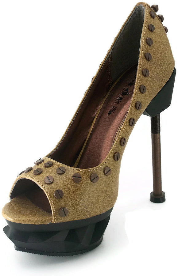 Hades Shoes - Iron Punk Mustard Steampunk Heels - Egg n Chips London