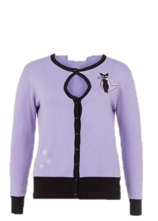 Voodoo Vixen - Isabella Lavender Spring Cat Cardigan - Egg n Chips London