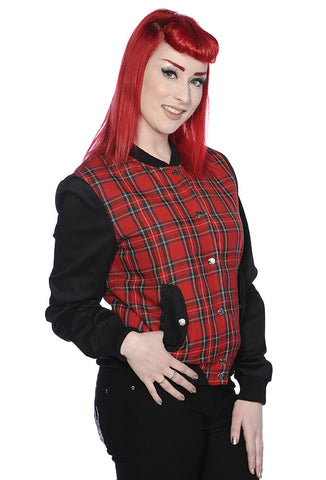 Banned Clothing - Red Tartan Bomber Jacket