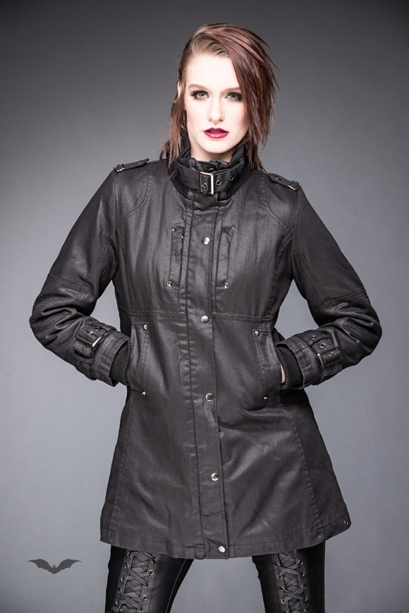 Queen of Darkness - Jacket with Buckle On Collar and Sleeves