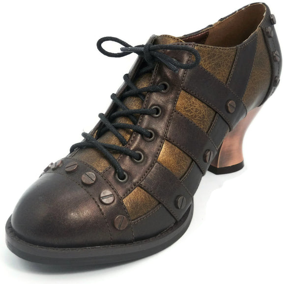 Hades Shoes - Brown Jade Victorian Shoes - Egg n Chips London
