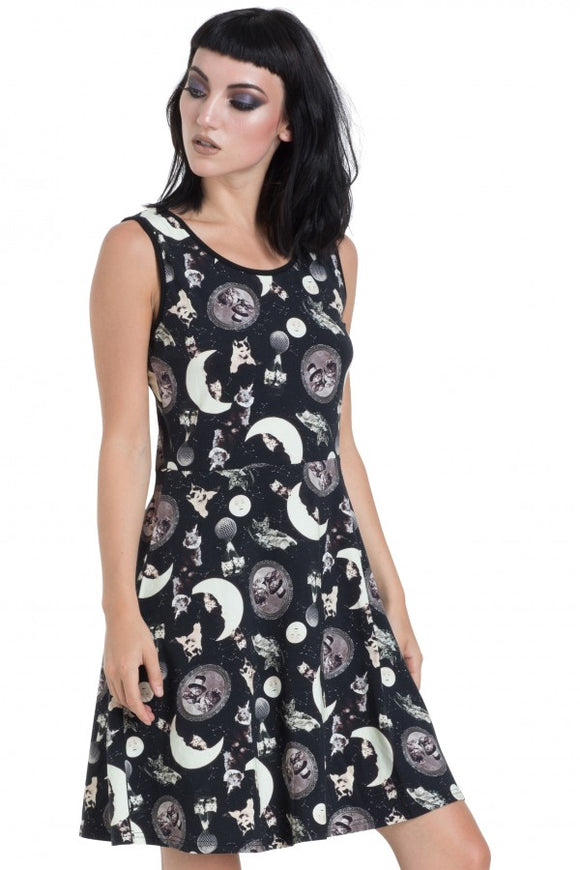 Jawbreaker Clothing - Black Catstellation Skater Dress