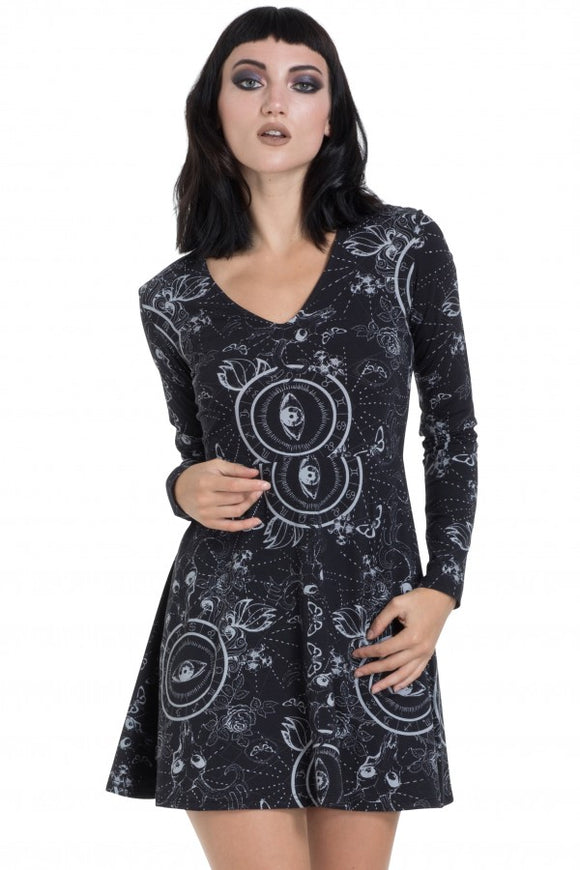 Jawbreaker Clothing - Black Ethereal Nature Skater Dress