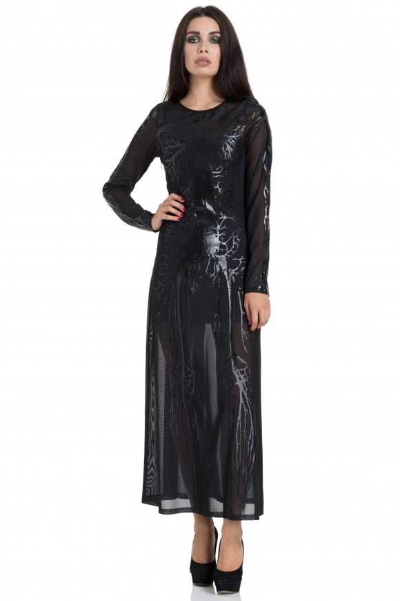 Jawbreaker Clothing - Black Hearted Veins Maxi Dress