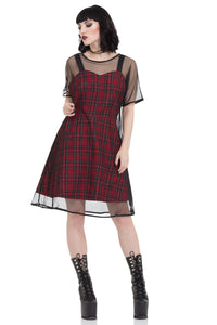 Jawbreaker Clothing - Tartan Mesh Skater Dress - Egg n Chips London