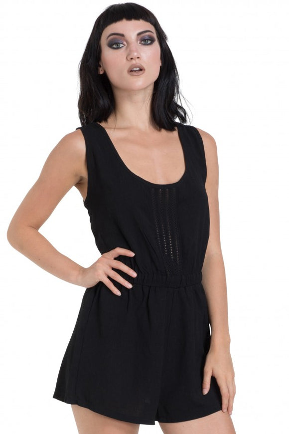 Jawbreaker Clothing - Trim And Black Crepe Playsuit
