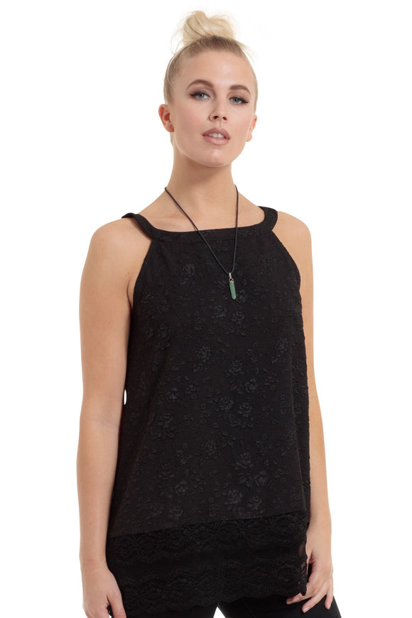 Jawbreaker Clothing - Women's Black Floral Jacquard Top With Black Lace - Egg n Chips London
