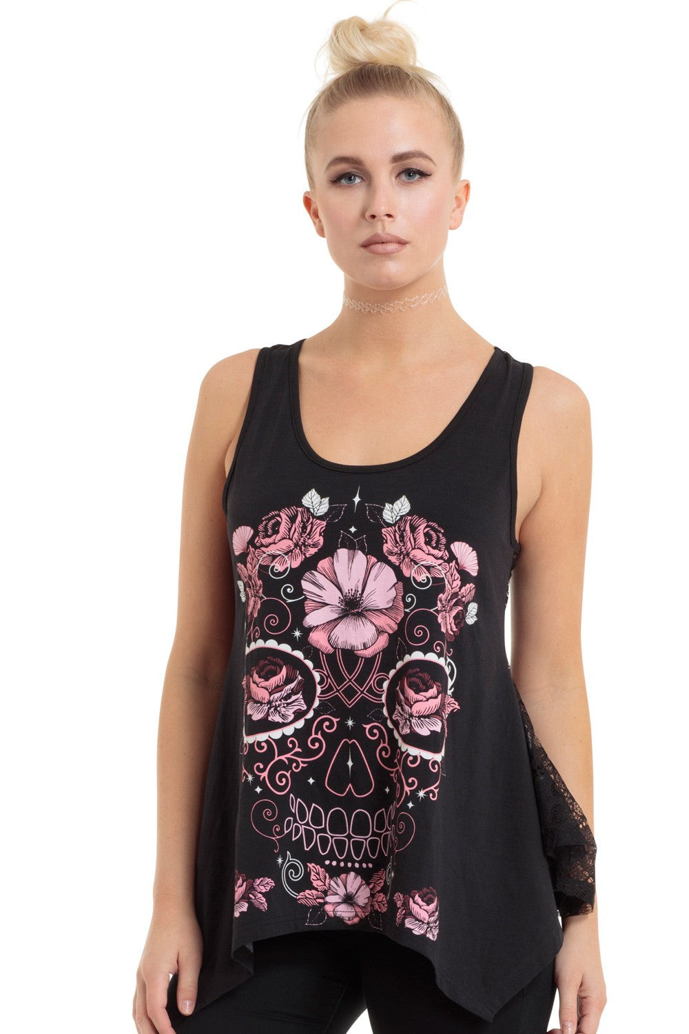1c9729f575780 Jawbreaker Clothing - Women s Black Floral Sugar Skull Skull Lace Back Top