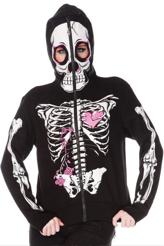 Jawbreaker Clothing - Women's Black Full Face Caged Heart Hood (Lightweight) - Egg n Chips London