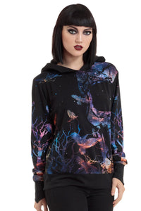 Jawbreaker Clothing - Women's Black Galaxy Bird & Branches Skull Hoodie - Egg n Chips London
