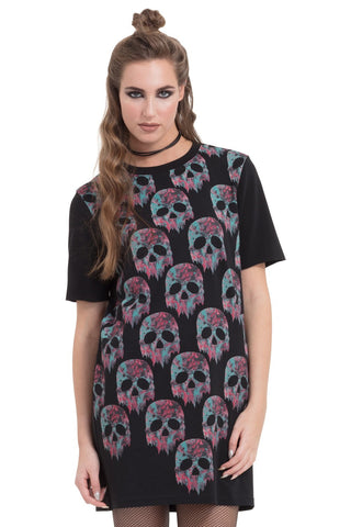 Jawbreaker Clothing - Women's Black Melting Marble Skulls Dress