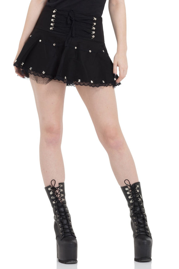 Jawbreaker Clothing - Women's Black Netted Studs Miniskirt - Egg n Chips London