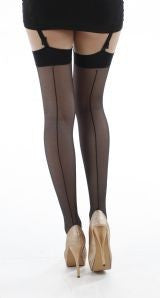 Pamela Mann - Jive Seamed Stockings Black and Black - Egg n Chips London