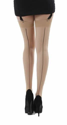 Pamela Mann - Jive Seamed Stockings Natural and Black - Egg n Chips London