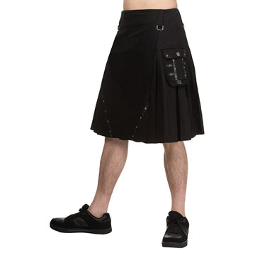 Dead Threads - Men's Black Kilt with Eyecatching Leather Look PVC Straps Detail