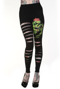 Banned Clothing - Slashed Zombie Leggings - Egg n Chips London