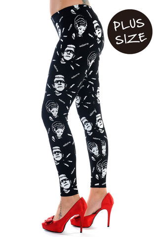 Banned Clothing - Black White Frankenstein And Bride Plus Size Leggings